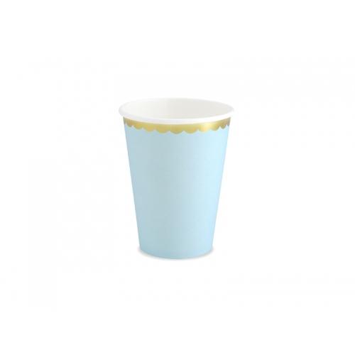 Kubeczki papierowe 220 ml, jasnoniebieskie ze złotymi brzegami (6 sztuk)
