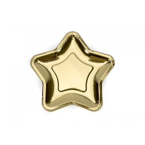 Talerzyki papierowe Gwiazdka 18 cm, złote (6 sztuk)