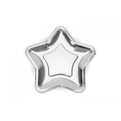 Talerzyki papierowe Gwiazdka 18 cm, srebrne (6 sztuk)