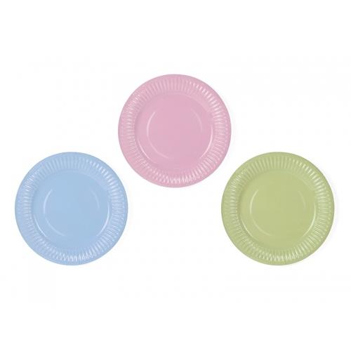 Talerzyki papierowe 18 cm, mix kolorów (6 sztuk)