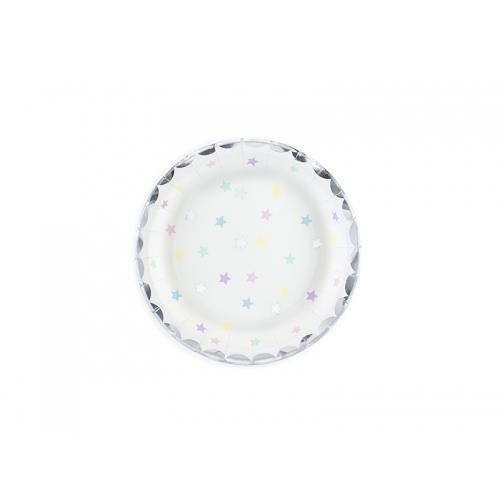 Talerzyki papierowe 18 cm, białe z motywem w gwiazdki (6 sztuk)