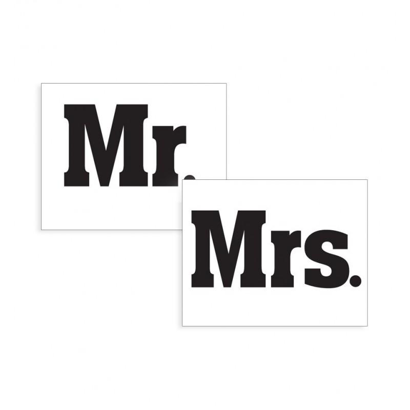 """Naklejki na buty """"Mr."""" i """"Mrs."""" (2 sztuki)"""