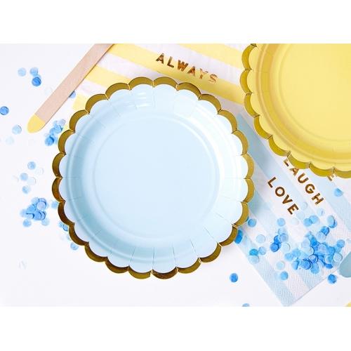 Talerzyki papierowe 18 cm, błękitne ze złotymi brzegami (6 sztuk)