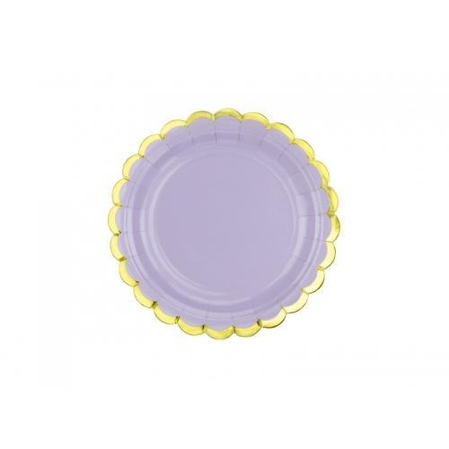Talerzyki papierowe 18 cm, liliowe ze złotymi brzegami (6 sztuk)