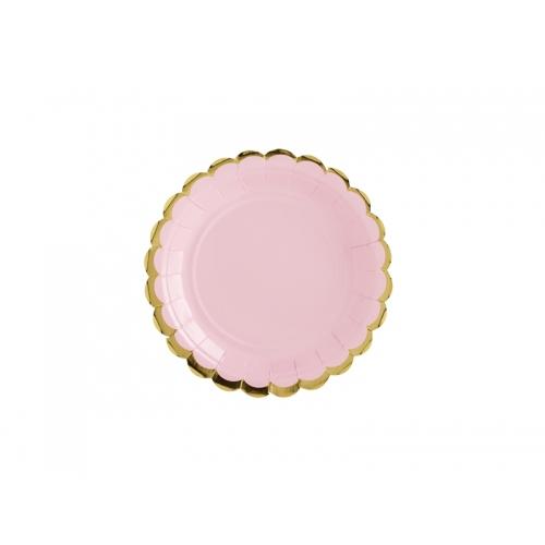 Talerzyki papierowe 18 cm, różowe ze złotymi brzegami (6 sztuk)