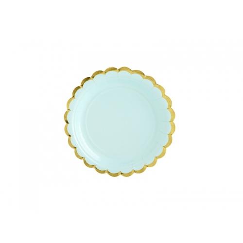 Talerzyki papierowe 18 cm, miętowe ze złotymi brzegami (6 sztuk)