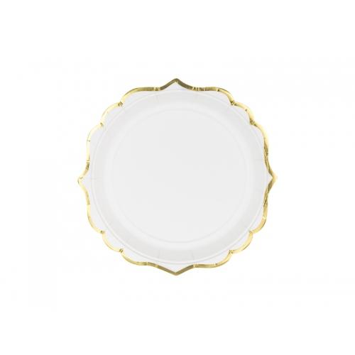 Talerzyki papierowe 18 cm, białe ze złotymi brzegami (6 sztuk)