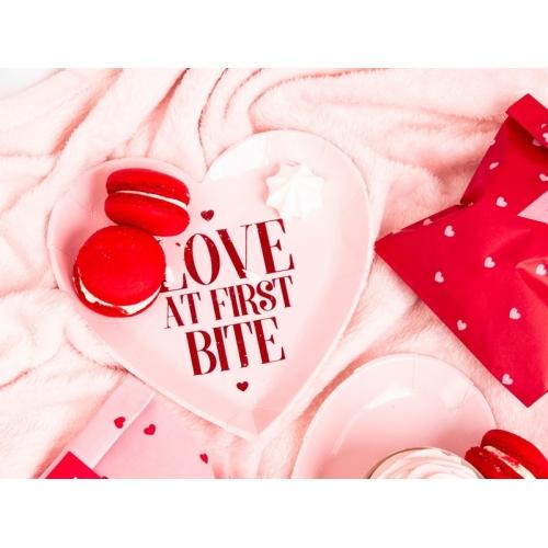 Talerzyki papierowe Serce 18,5 cm, różowe (6 sztuk)