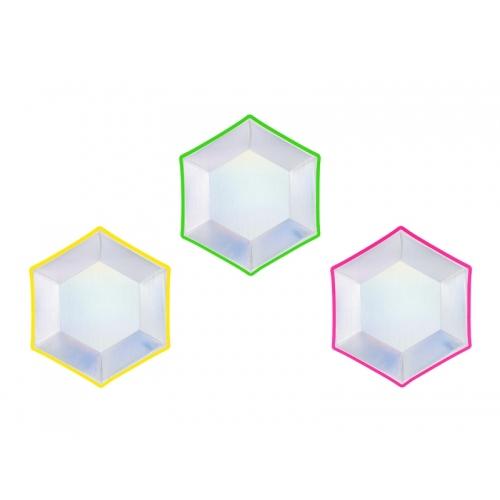 Talerzyki papierowe 20 cm, mix holograficzny (6 sztuk)