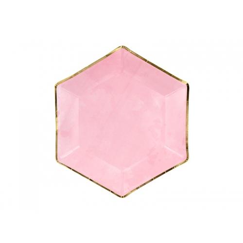 Talerzyki papierowe 23 cm, różowe ze złotymi brzegami (6 sztuk)