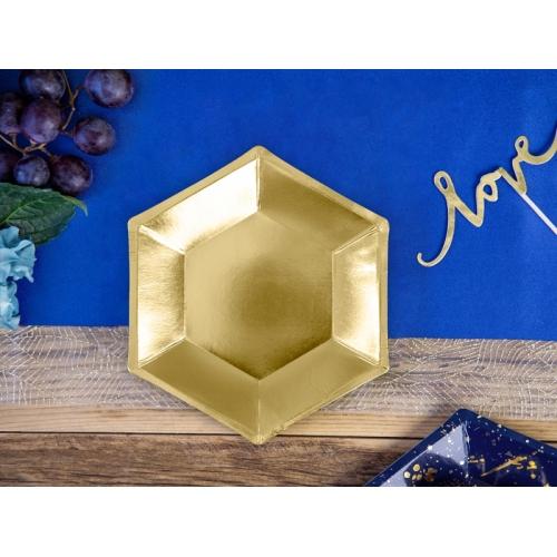 Talerzyki papierowe 20 cm, złote (6 sztuk)