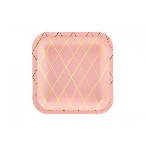 Talerzyki papierowe 20 cm, różowe ze złotym wzorem kratki (6 sztuk)