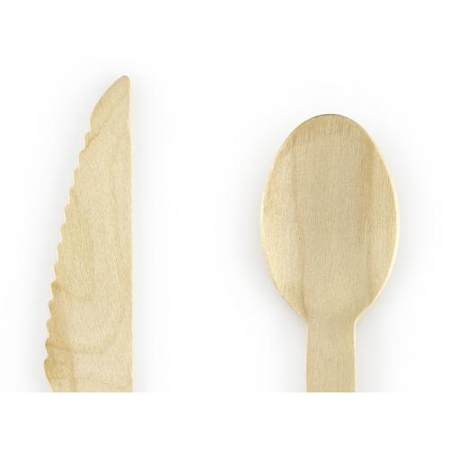 Sztućce drewniane 16 cm, jasnoróżowe (18 sztuk)