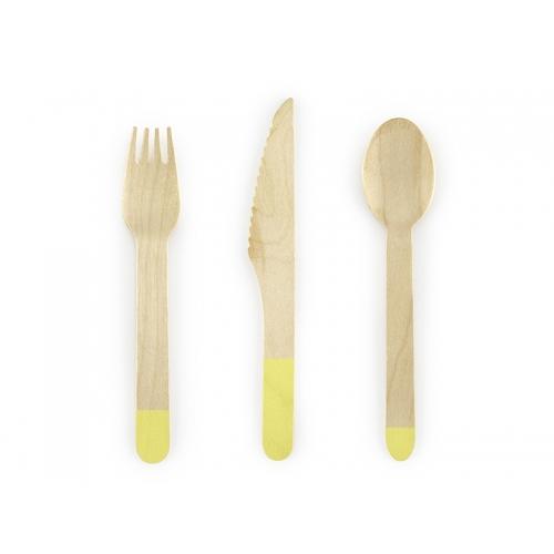 Sztućce drewniane 16 cm, żółte (18 sztuk)