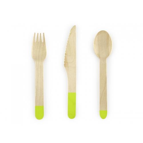Sztućce drewniane 16 cm, zielone (18 sztuk)