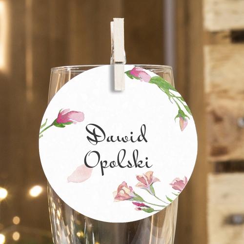 Okrągła winietka weselna - Floral