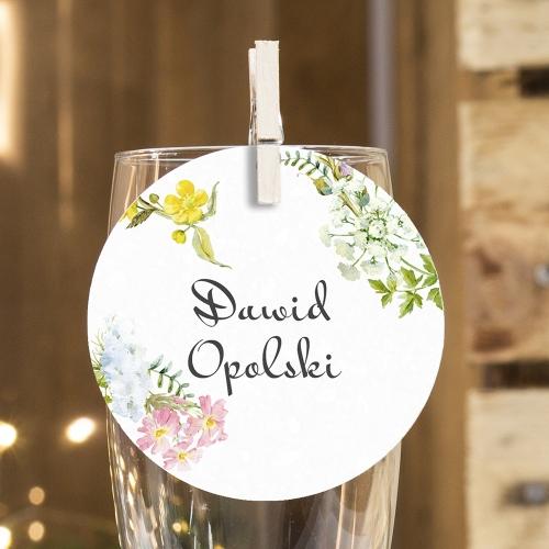 Okrągła winietka weselna - Floral II