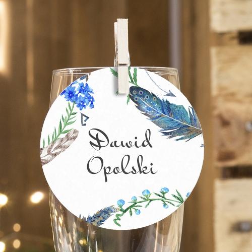 Okrągła winietka weselna - Floral IV