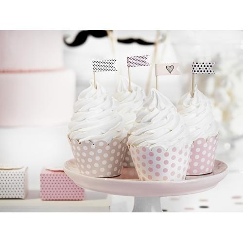 Papilotki na muffinki, mix różowy (6 sztuk)