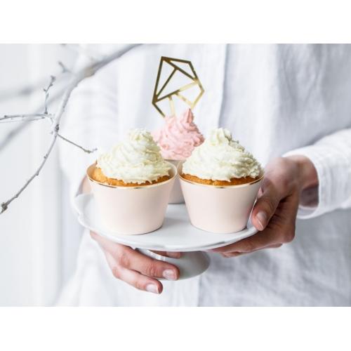Papilotki na muffinki, jasnoróżowe ze złotym paskiem (6 sztuk)