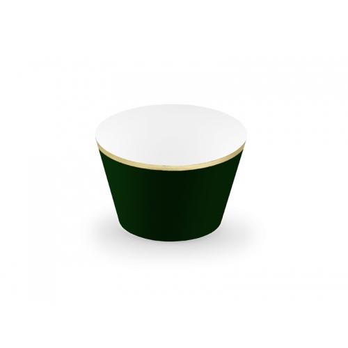 Papilotki na muffinki, butelkowa zieleń ze złotym paskiem (6 sztuk)