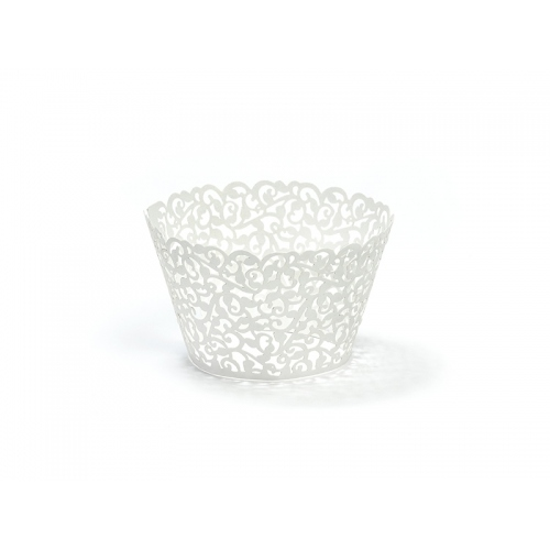 Papilotki na muffinki, białe z wyciętym ornamentem (10 sztuk)