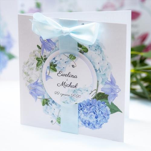 Zaproszenie ślubne - Błękitne Hortensje