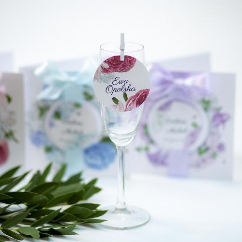 Okrągła winietka weselna - Romantyczne Piwonie