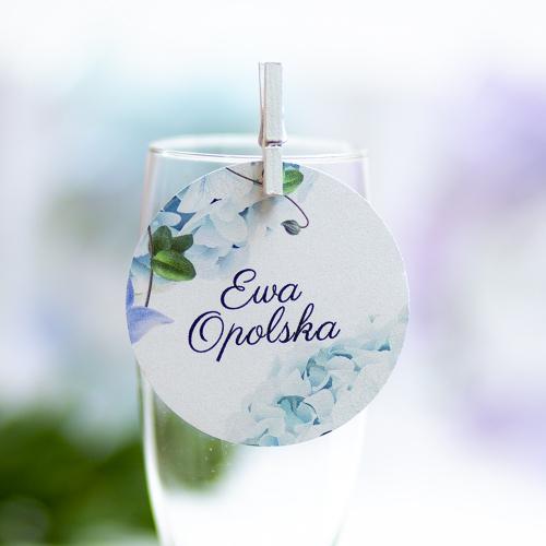 Okrągła winietka weselna - Błękitne Hortensje