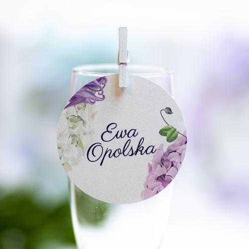 Okrągła winietka weselna - Fioletowe Hortensje
