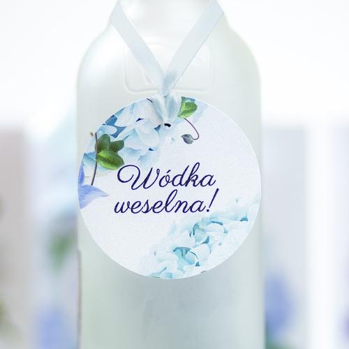 Okrągła ozdoba alkoholu - Błękitne Hortensje