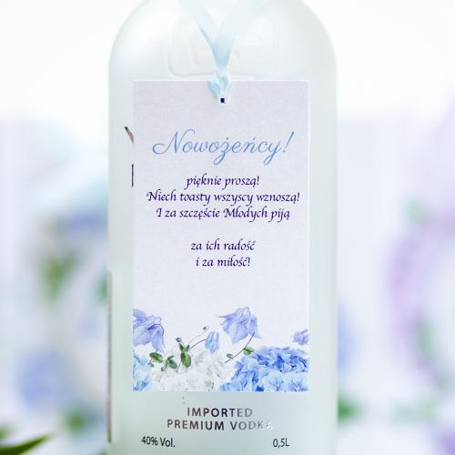 Ozdoba alkoholu - Błękitne Hortensje