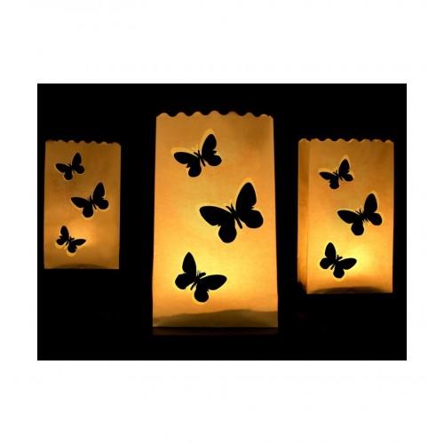 Lampiony - torebki z motylami (10 sztuk)