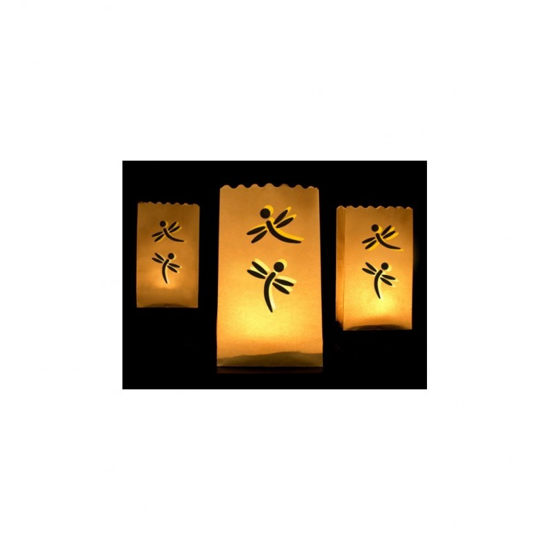 Lampiony - torebki z ważkami (10 sztuk)