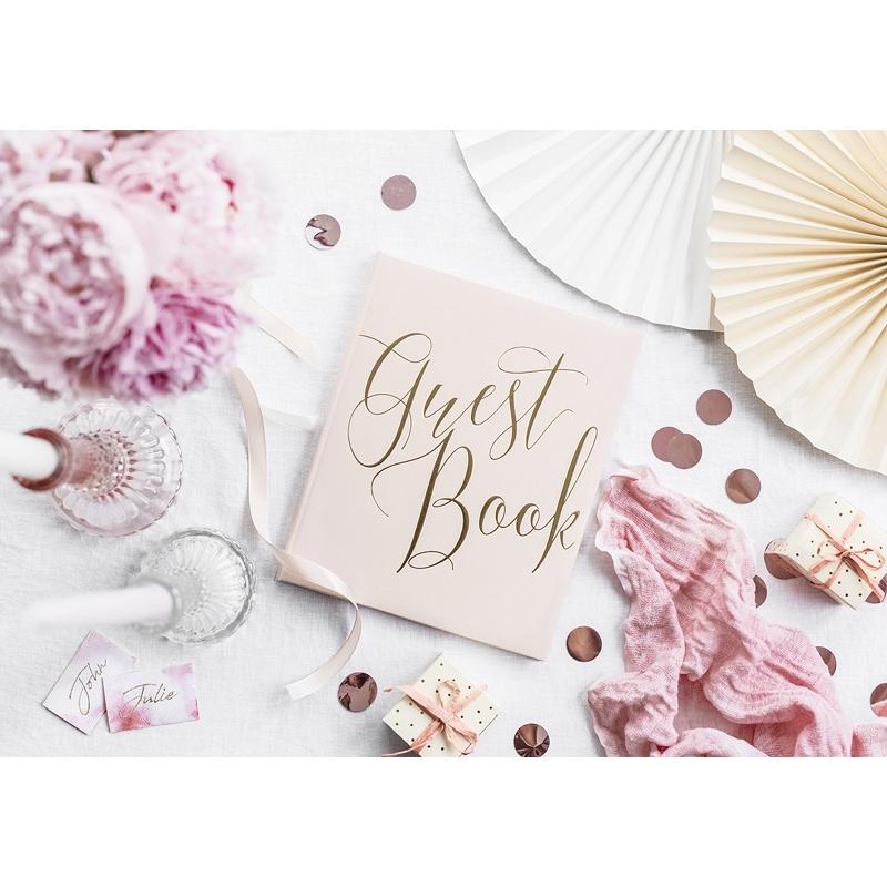 Granatowa księga gości Guest book, pudrowy róż