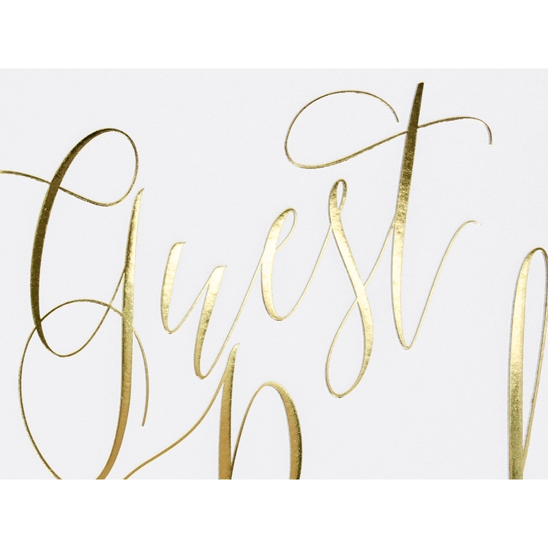 Księga gości Guest book, biała z napisem w kolorze złotym