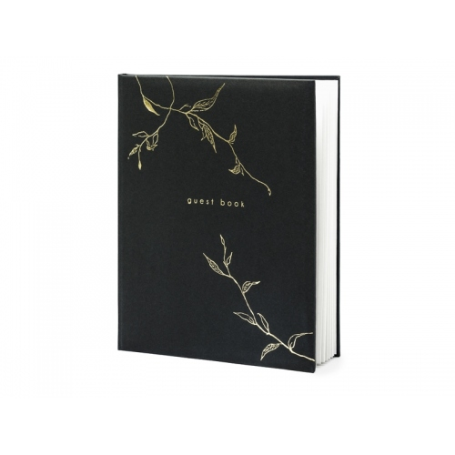 Czarna księga gości ze złotym motywem gałązek