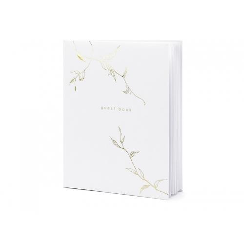 Biała księga gości ze złotym motywem gałązek