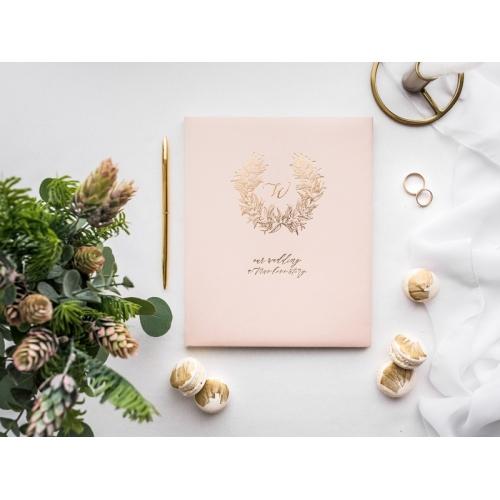 Księga gości,pudrowy róż ze złotym wzorem