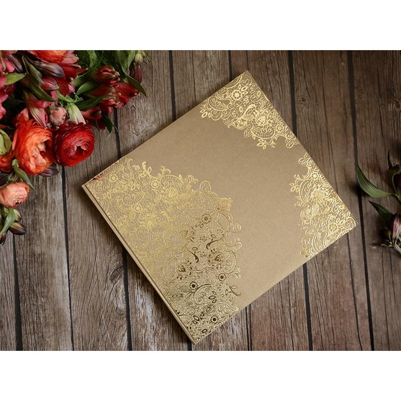 Księga gości z papieru EKO ze złotym wzorem