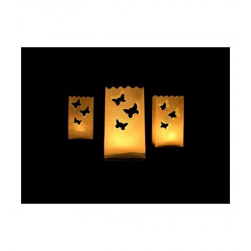 Małe lampiony - torebki z motylkami (10 sztuk)