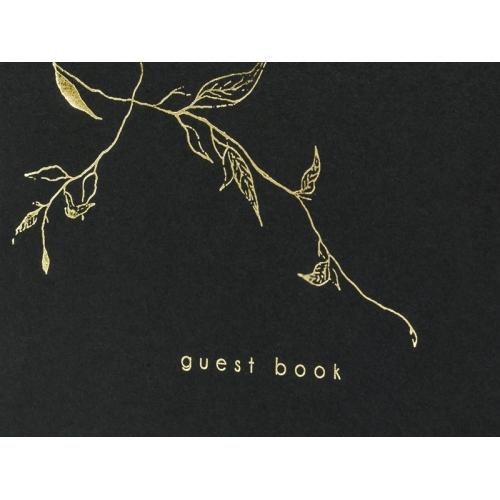 Księga gości Guest book, czarna ze złotym wzorem