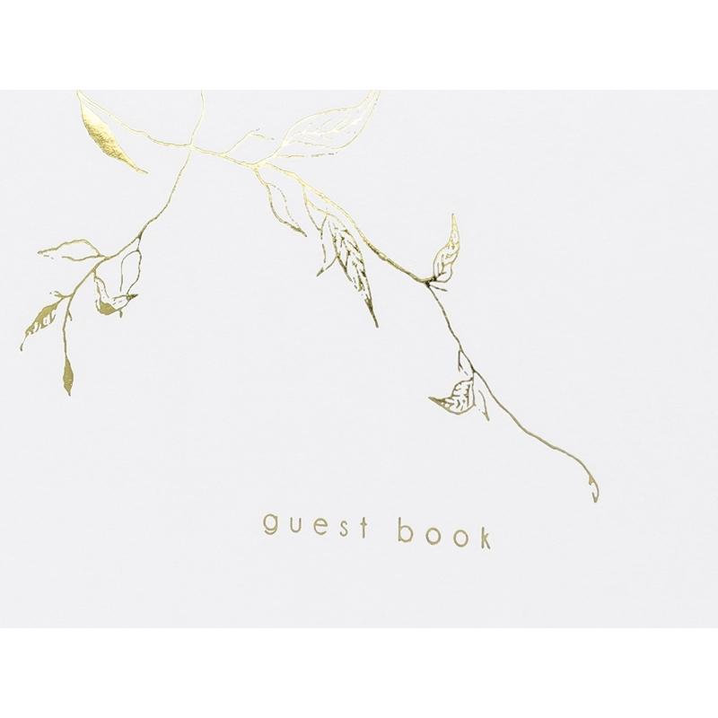 Księga gości Guest book, biała ze złotym wzorem