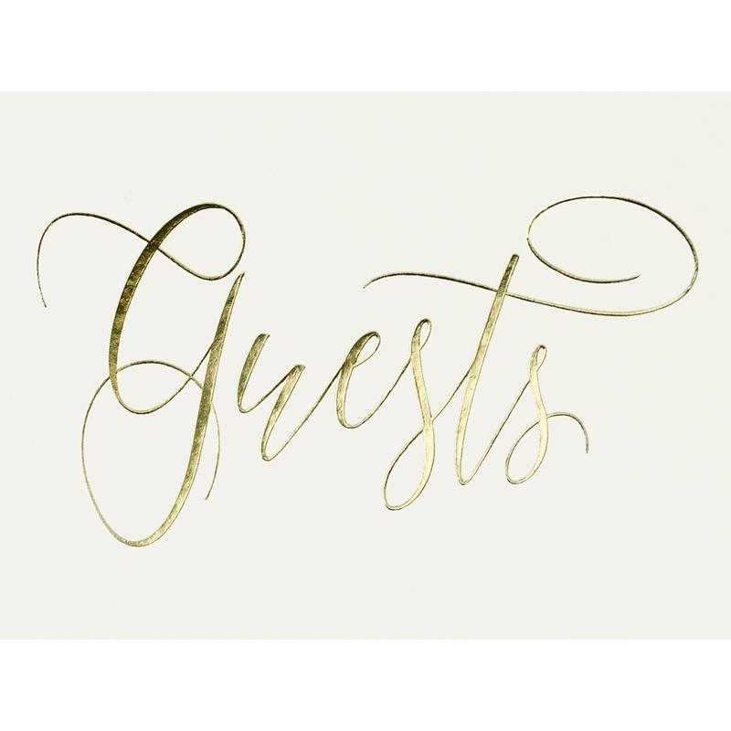 Księga gości Guest book, jasnokremowa z napisem w kolorze złotym