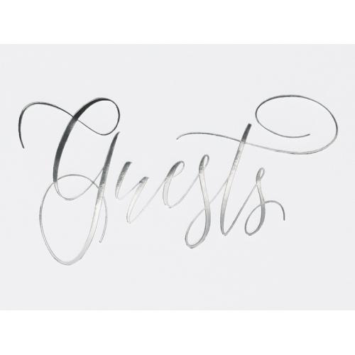 Księga gości Guest book, biała z napisem w kolorze srebrnym