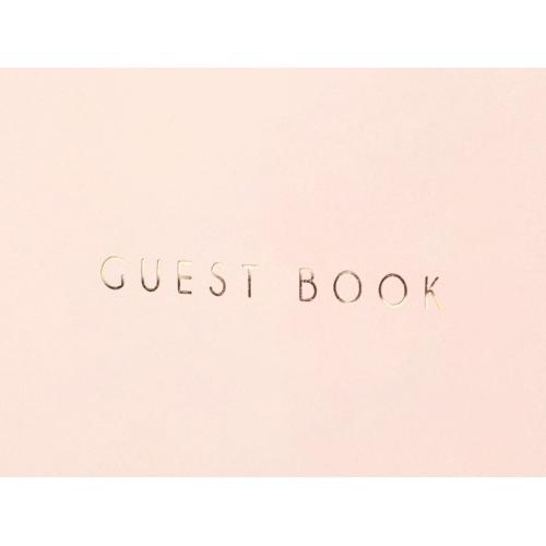 Księga gości, pudrowy róż z napisem w kolorze złotym