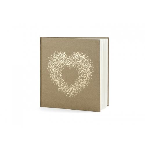 Księga gości z papieru EKO ze złotym sercem