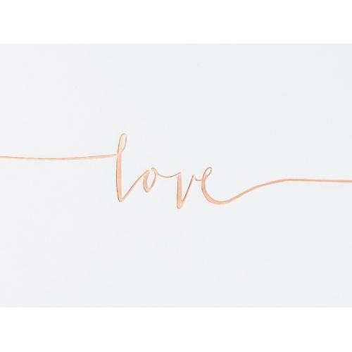 """Biała księga gości z różowym napisem """"Love"""""""