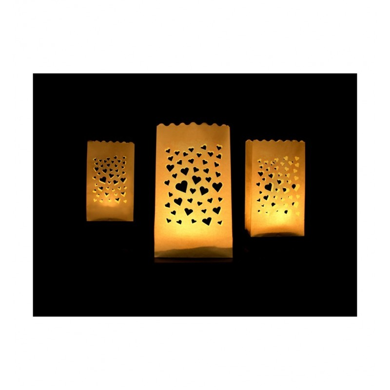 Lampiony - torebki z serduszkami (10 sztuk)