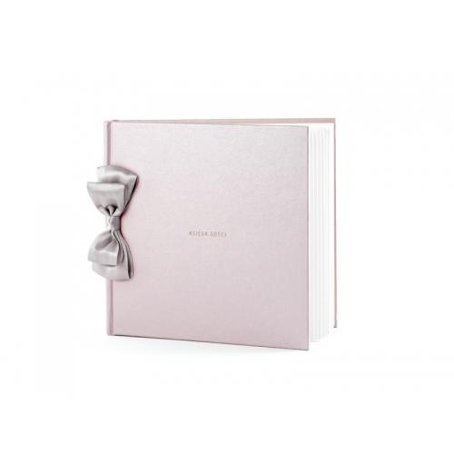 Różowa księga gości z kokardą